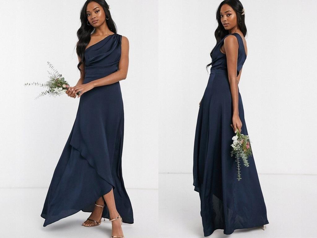 TFNC wieczorowa sukienka maxi na jedno ramię XS