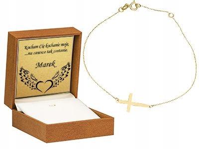 Złota bransoletka z Krzyżykiem Grawer GRATIS