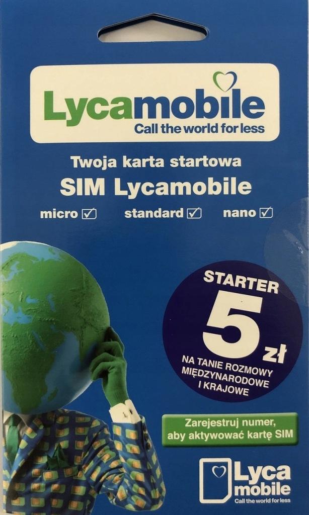 Lycamobile - karta SIM 5 zł na koncie do wykorzyst