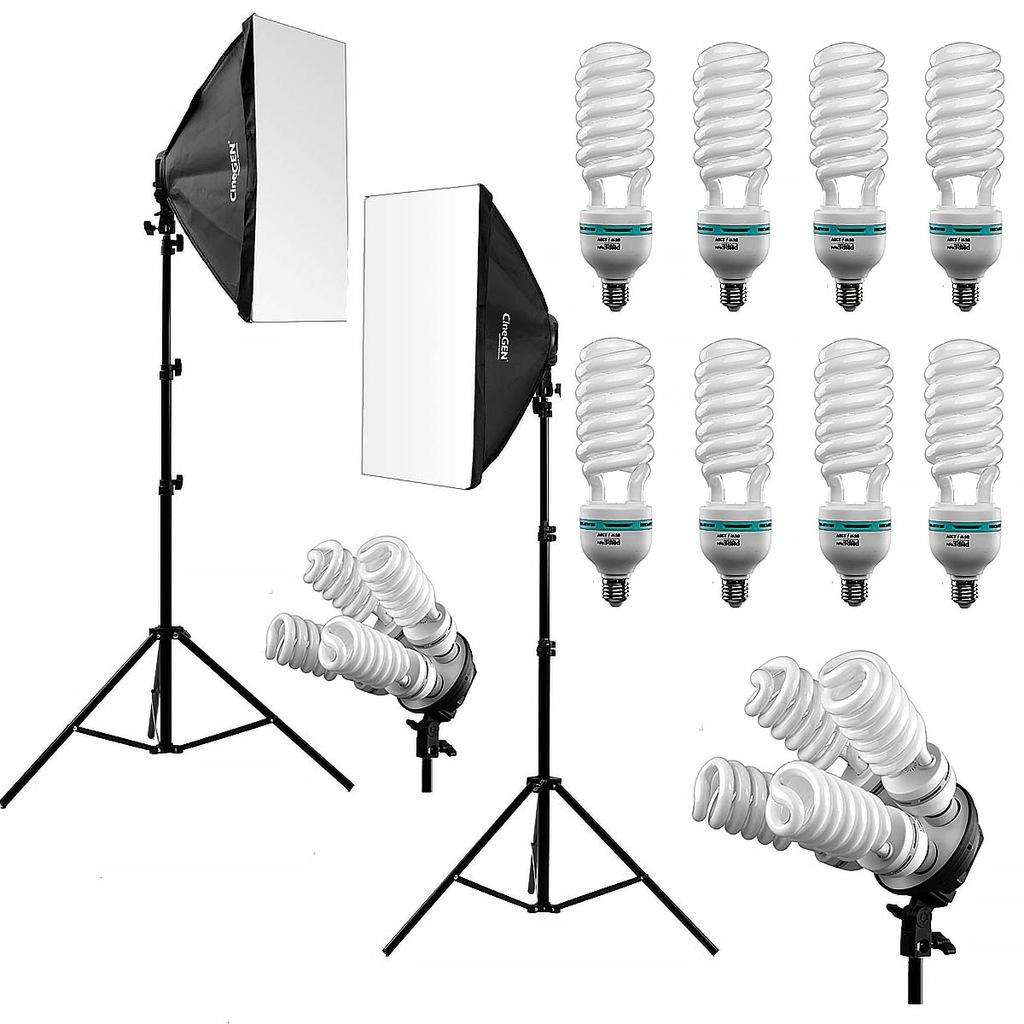 2x Lampa fotograficzna softbox żarówka statyw