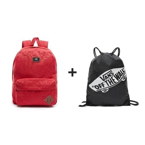 Plecak szkolny VANS Old Skool II czerwony + worek