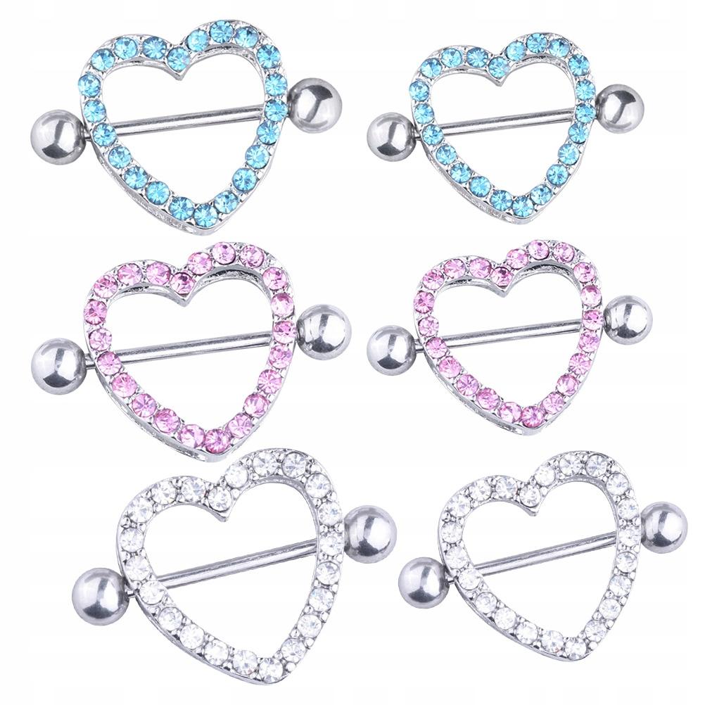 6szt. Symetryczny diamentowy pierścień na sutki. M