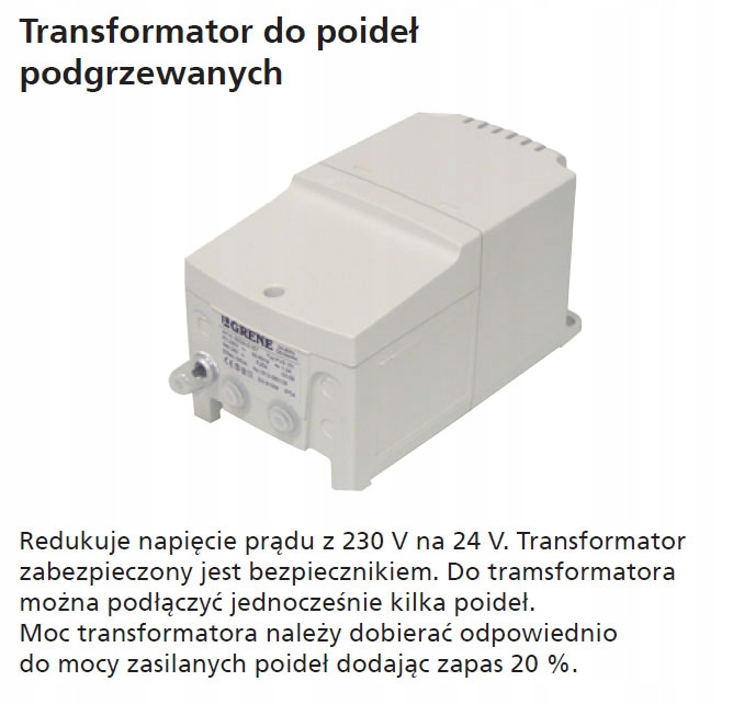 Transformator do poideł podgrzewanych 230/24 400 W