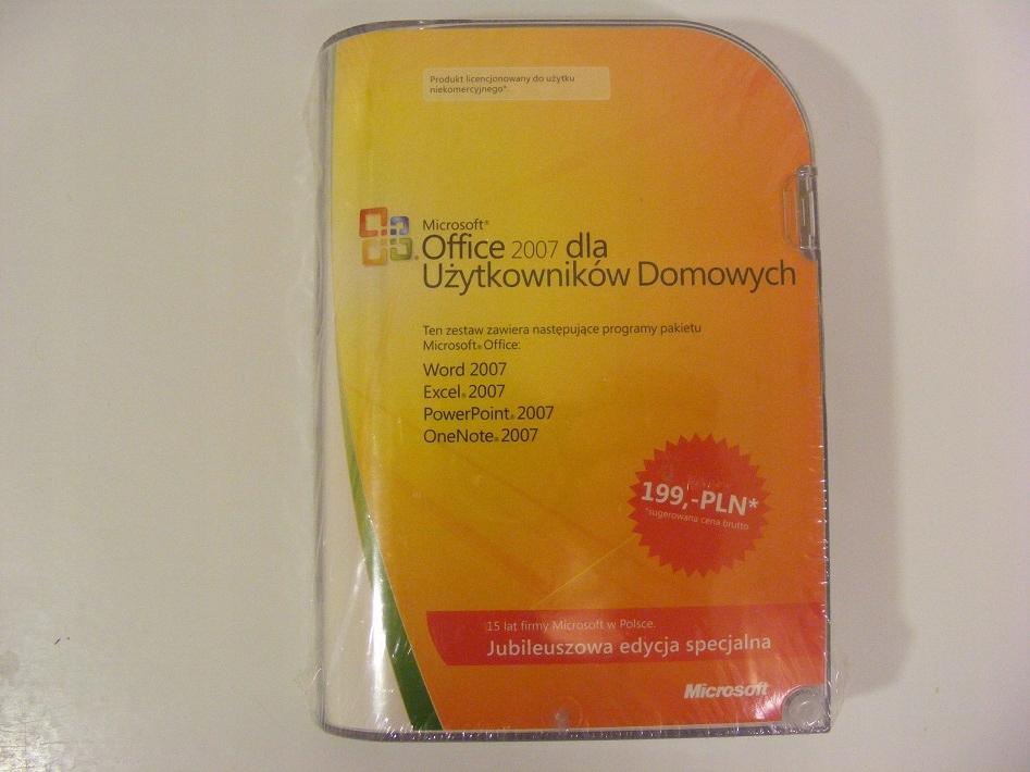 NOWY Office 2007 BOX PL dla 3 komput. zafoliowany