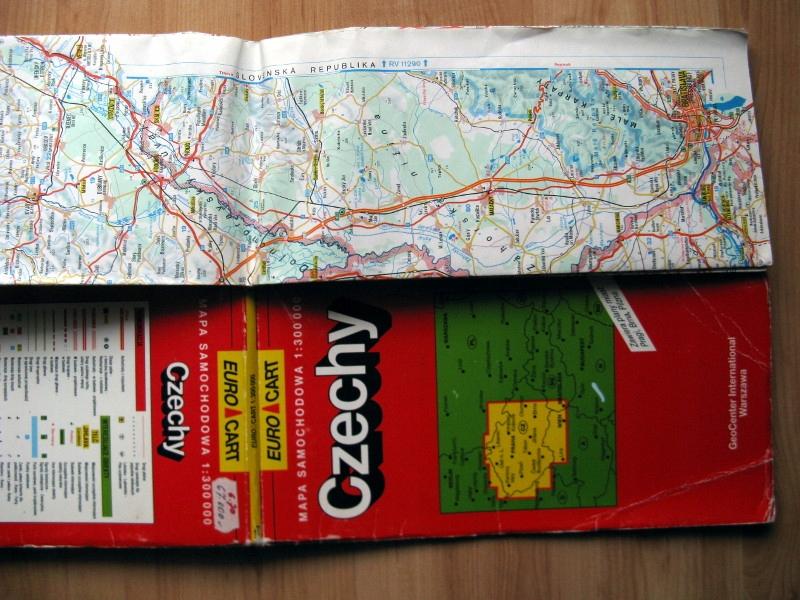 Stary plan mapa drogowa Czechy 1994