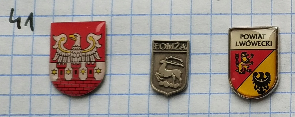 Zestaw odznak 41 Herb Powiat gmina mix heraldyka
