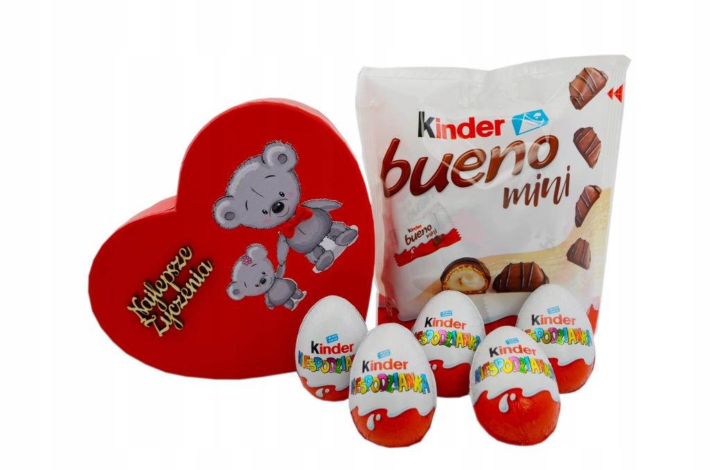 Zestaw Słodyczy Kinder Jajko kosz prezentowy Serce