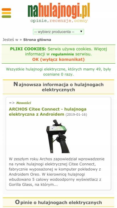 naHulajnogi.pl sprzedam serwis z ocenami hulajnóg