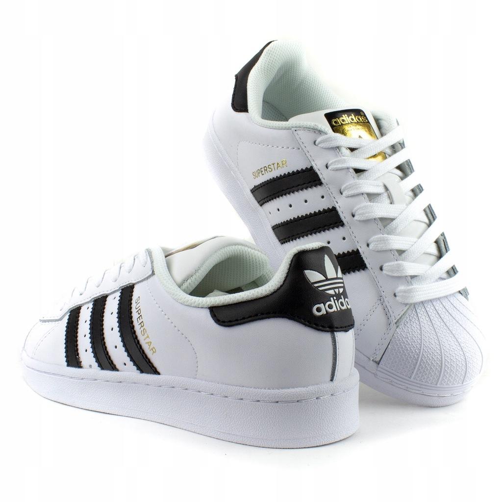 buty adidas damskie białe ze złotym znaczkiem