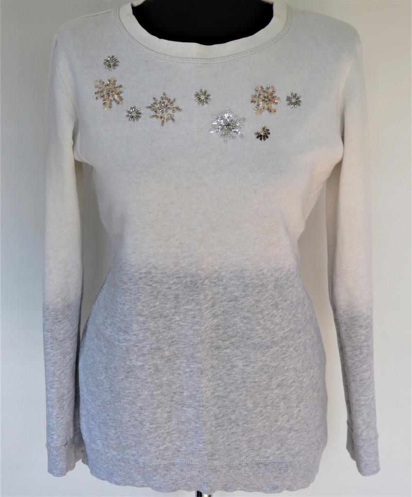 Beżowo szara bluza świąteczna H&M S dżety