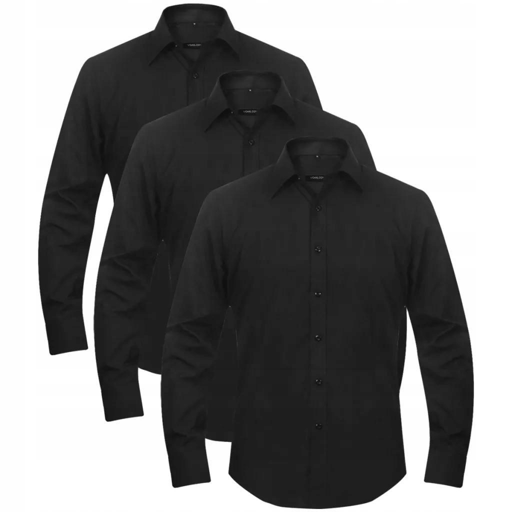 3 Męskie koszule biznesowe rozmiar L czarne
