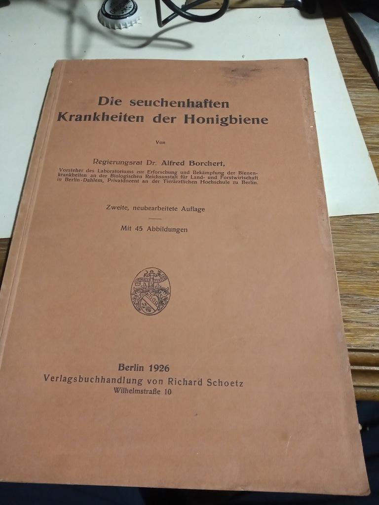 Stara Książka Pszczelarstwo 1926 Pszczoły Niemcy