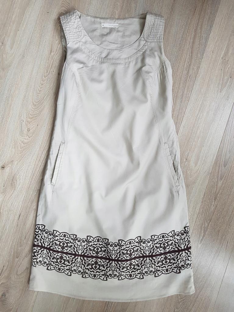 Sukienka RESERVED xs 34 beżowa stan idealny