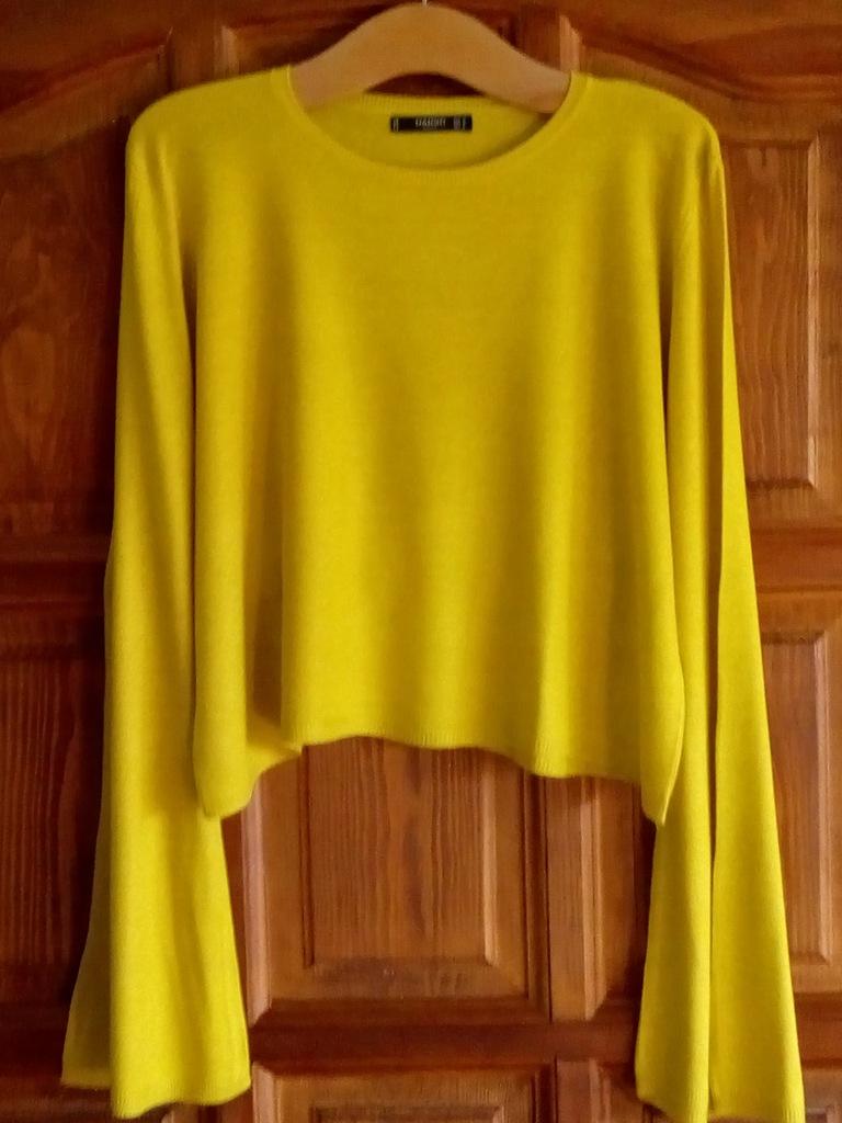 Sweter bluzka żółta mango 38 M rozszerzany rękaw L