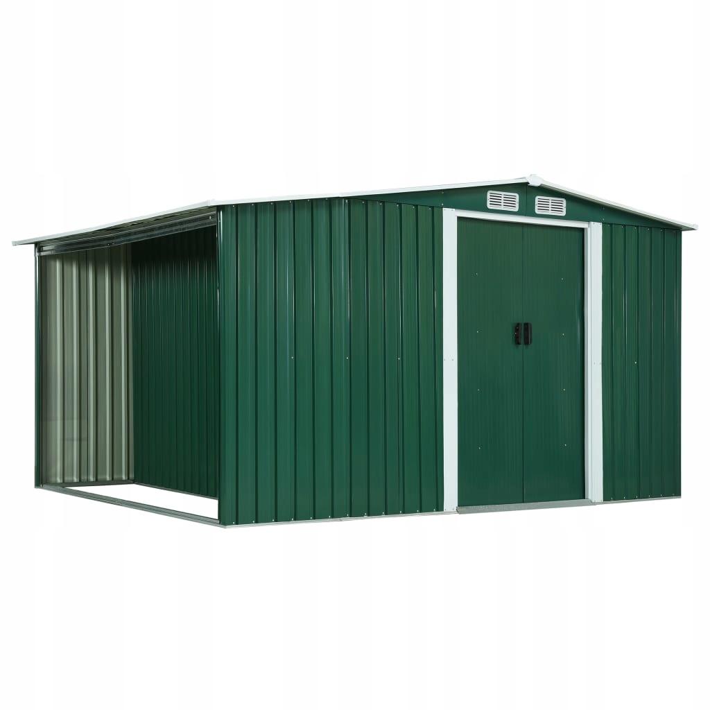 Szopa z drzwiami przesuwnymi, zielona, 329,5x205x1