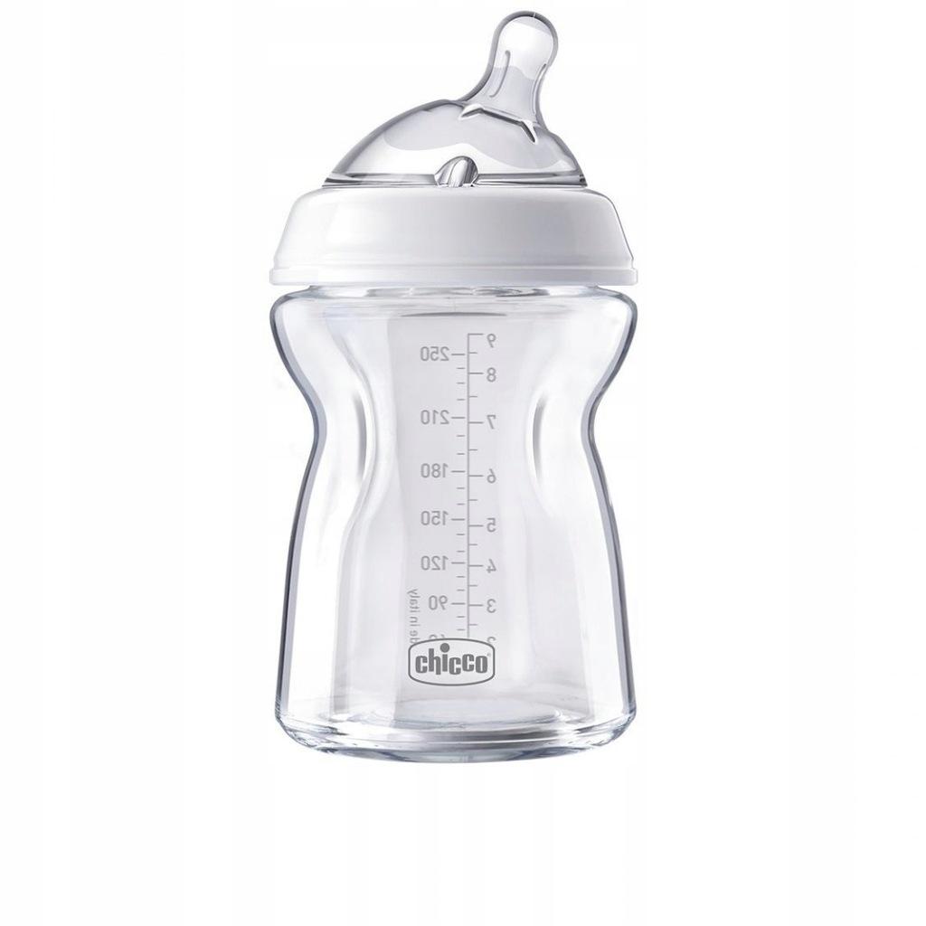 Chicco NaturalFeeling szklana butelka-250 ml smocz