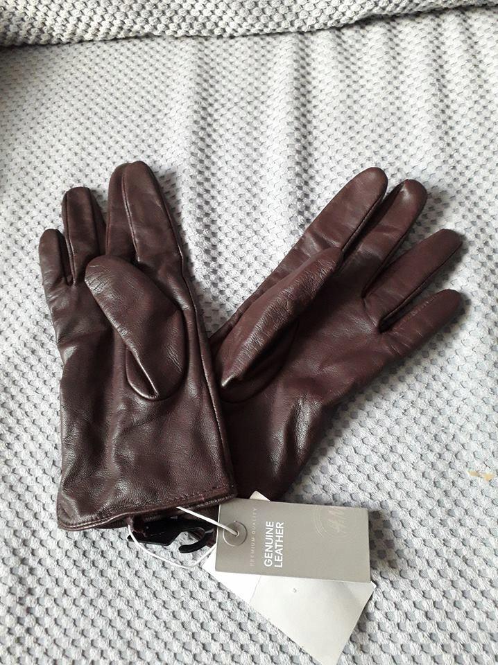 Rękawiczki skórzane śliwkowe rozm. M H&M