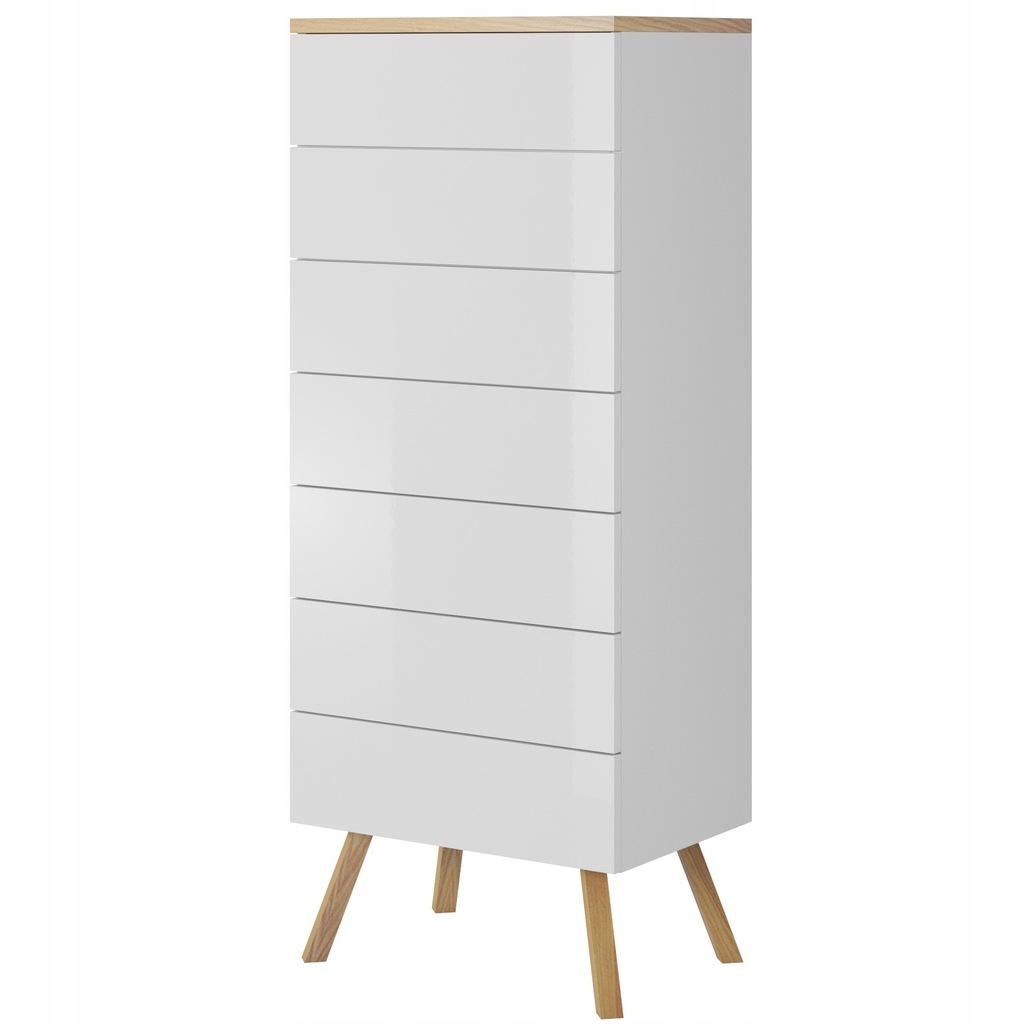Komoda z szufladami wysoka 52 cm biała połysk - 7285683843 - oficjalne archiwum Allegro
