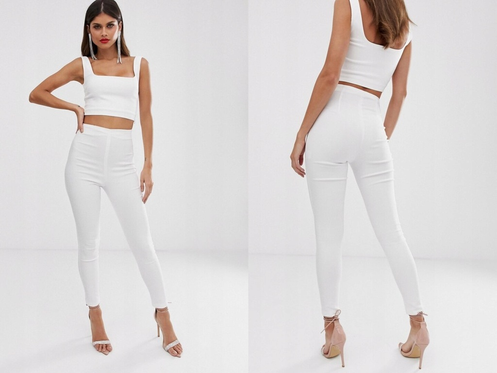 Vesper - Białe spodnie dopasowane L/40