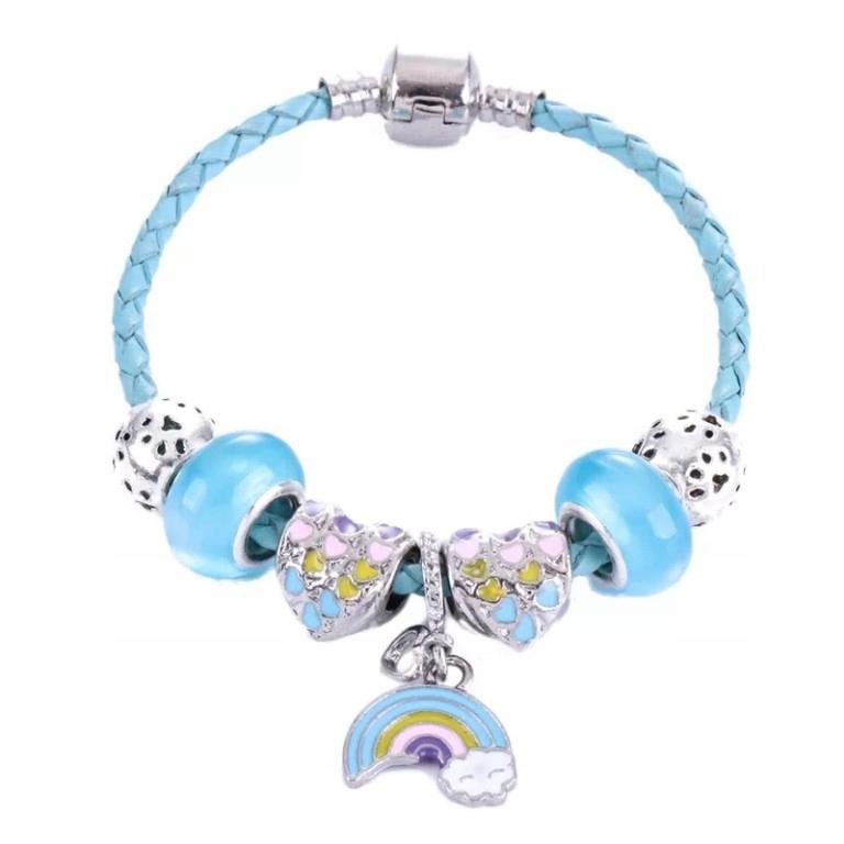 charms koraliki bransoletka błękitna tęcza