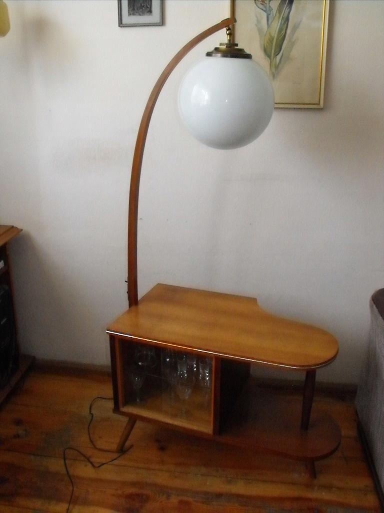 Lampa podłogowa z szafką/barkiem lata 60 ub.wieku