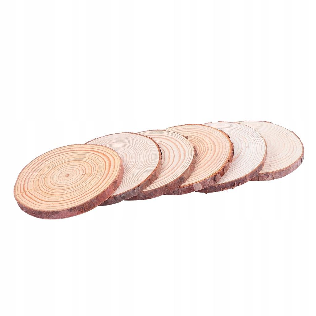 6 sztuk niedokończone plastry drewna okrągłego kaw