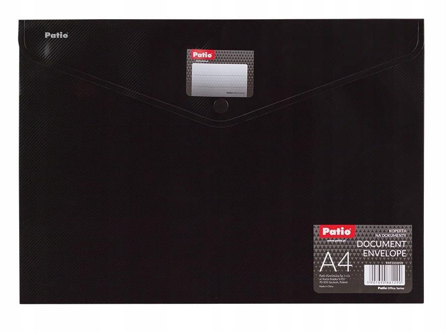 Teczka kopertowa A4 z etykietą opisową czarna Pati