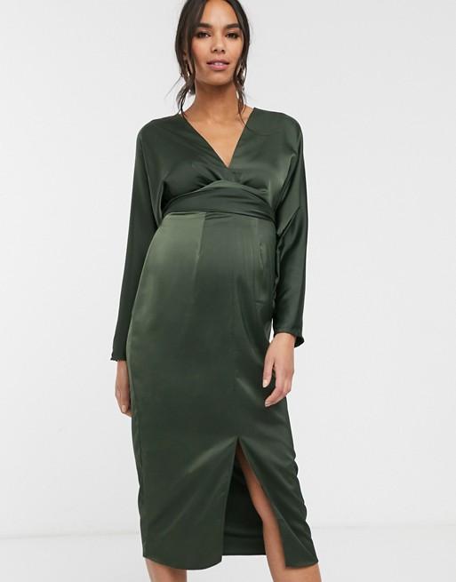 DK E190 DESIGN Ciążowa sukienka midi khaki 36 A04
