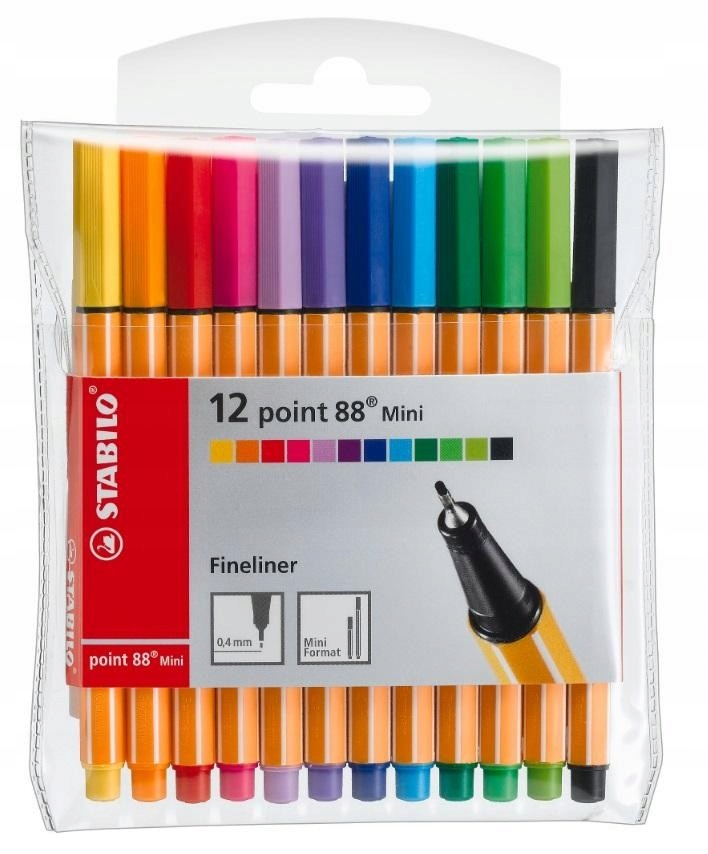 Cienkopis Point 88 Mini 12 kolorów etui STABILO