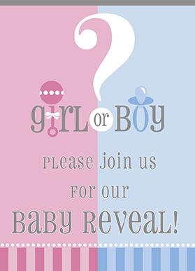 Zaproszenia na Baby Shower Boy or Girl 8 szt.