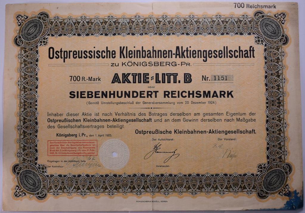 Akcja kolejowa 700 marek Królewiec 1.04.1925