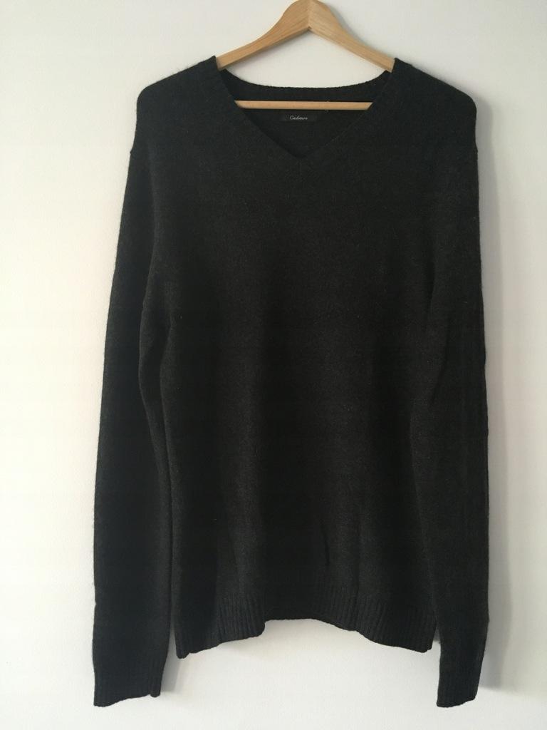 Sweter męski H&M 100% kaszmir M ciemny szary