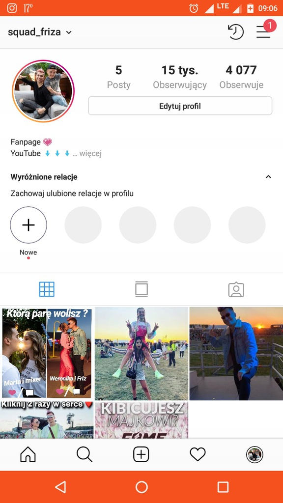 Konto na Instagramie