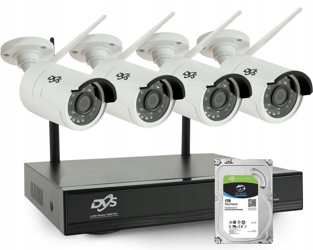 MONITORING 4 KAMERY IP WIFI 2Mpx FULL HD DYSK 1TB