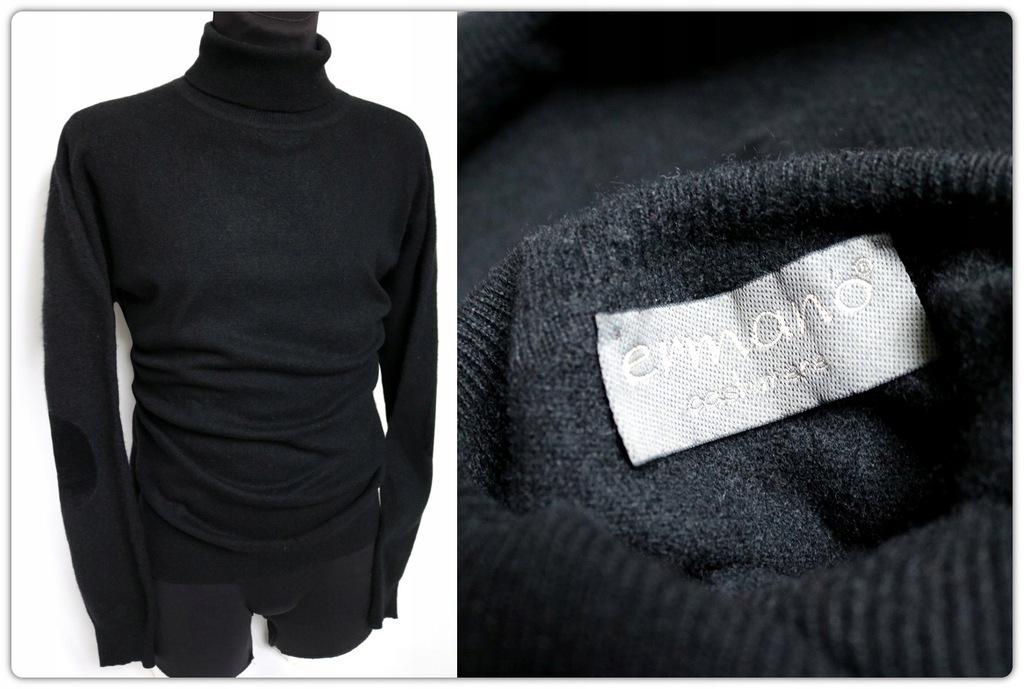 Sweter 100% KASZMIR skóra zamsz PIĘKNY jak NOWY L