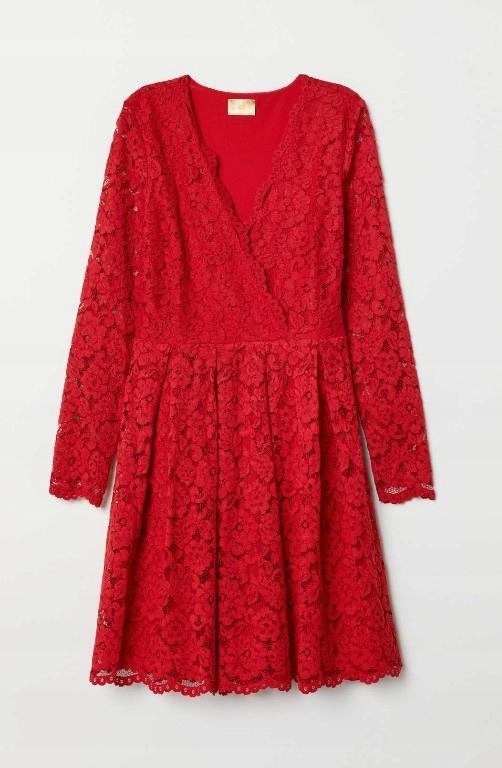 czerwona koronkowa sukienka H&M Golden Label