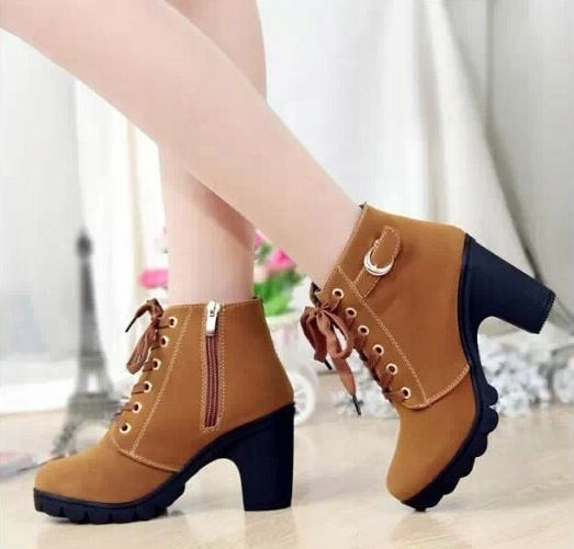 Buty damskie botki słupek sznurowane 3 kolory 39
