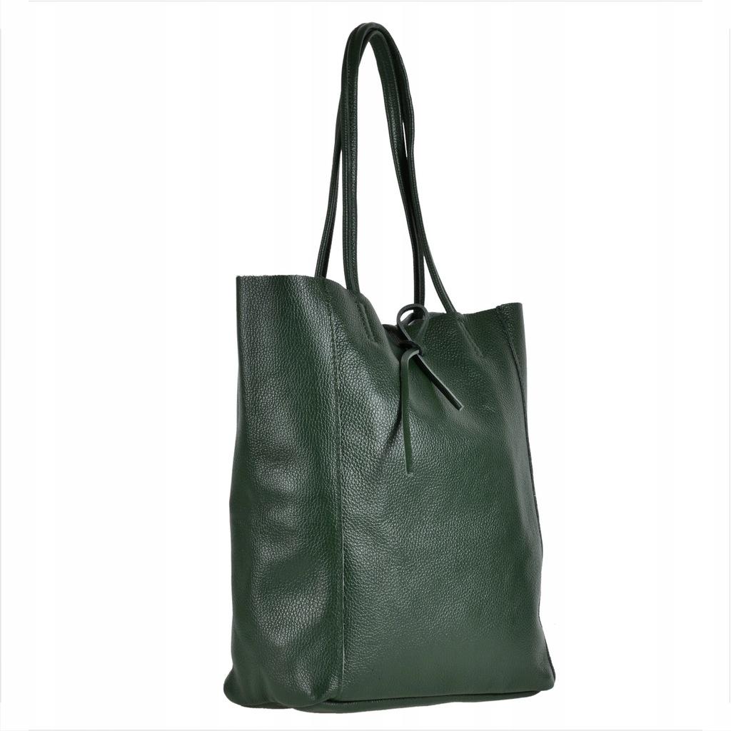 Duża torba zielona skóra naturalna włoska shopper