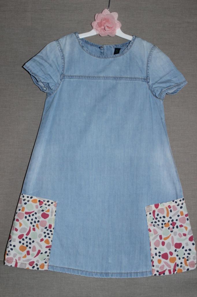 Dżinsowa sukienka _ BENETTON _ r. S _ 6-7 lat