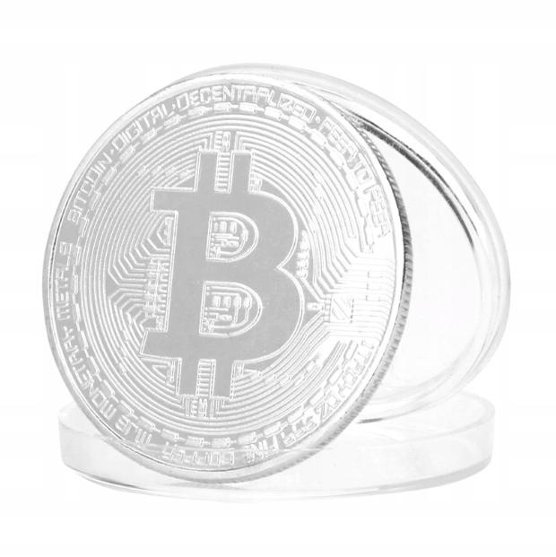 BITCOIN moneta kolekcjonerska BTC +KAPSEL srebrna