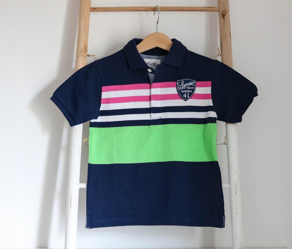 Granatowa koszulka polo w paski MAYORAL 98
