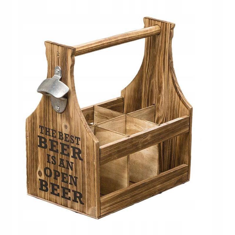 Stylowa skrzynka z napisem na piwo z otwieraczem