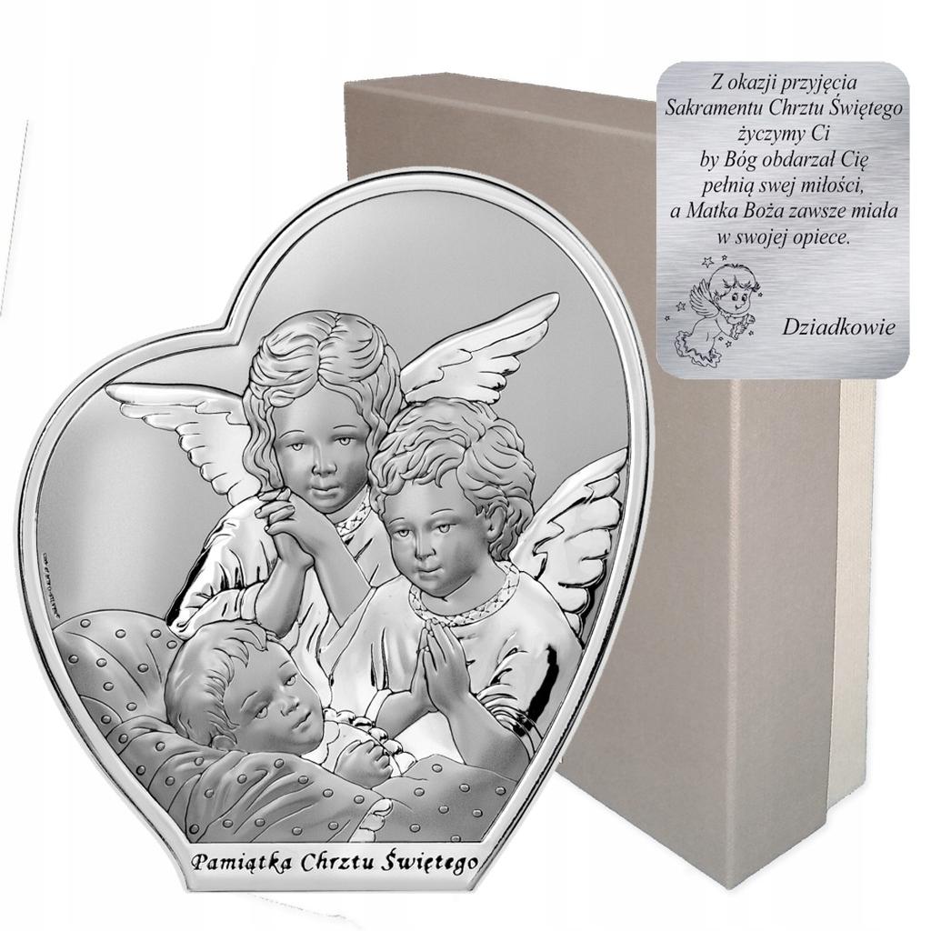 Obrazek srebrny Aniołki nad dzieckiem Chrzest Św