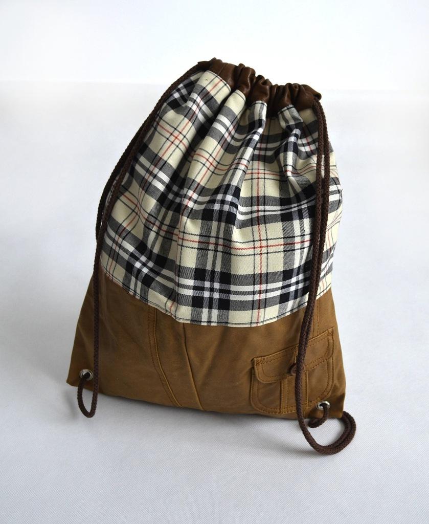 Plecak worek torba uchwyt skóra szkoła kratka A4