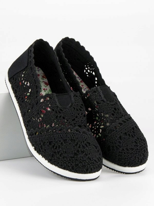 CZARNE KORONKOWE TRAMPKI 37 czarne letnie buty