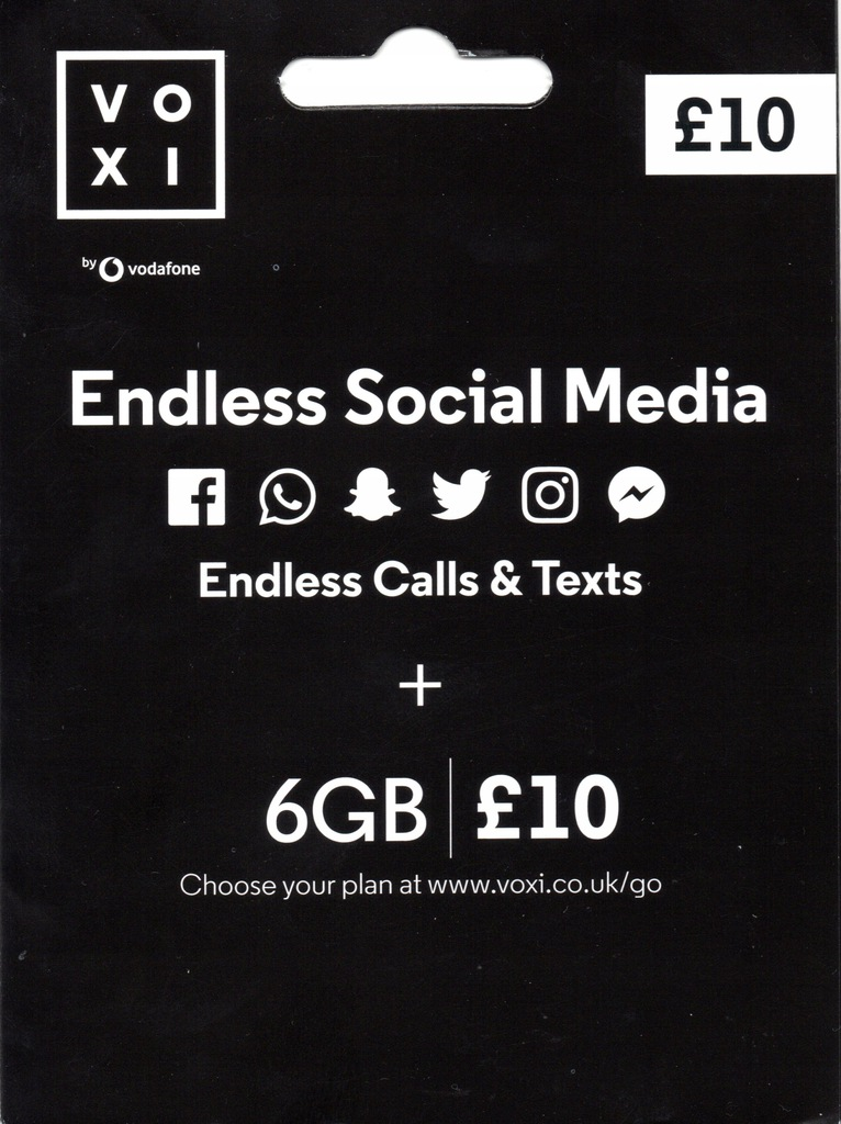 Karta SIM VOXI (Vodafone) UK Starter 3w1