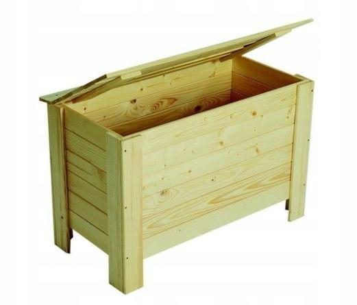 Skrzynia drewniana klapą zamykana surowe drewno