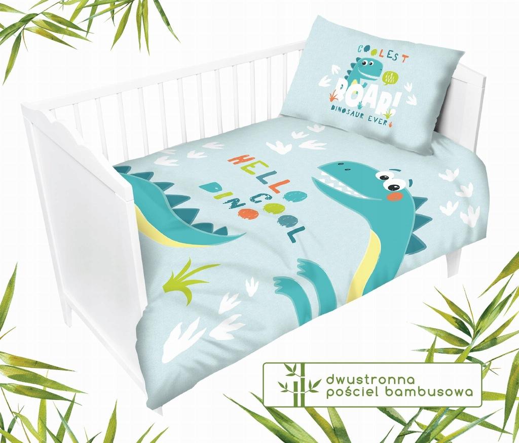 Bambusowa dwustronna pościel do łóżeczka Dino