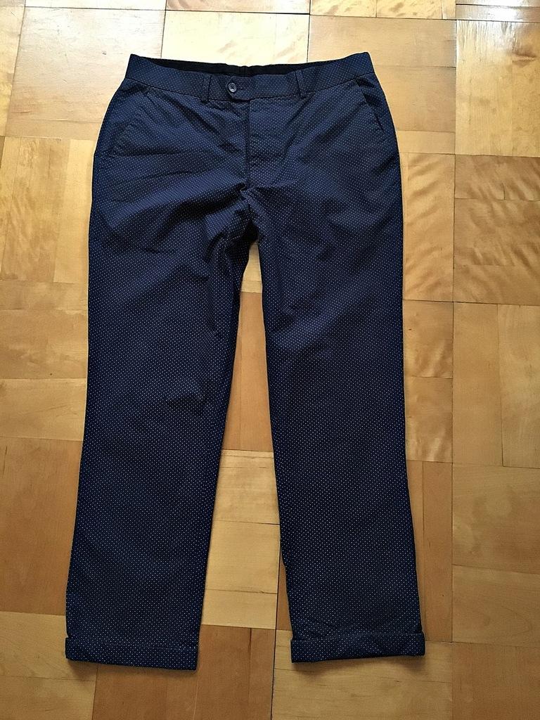 ASOS_cudne spodnie cygaretki _granat _groszki_L/XL