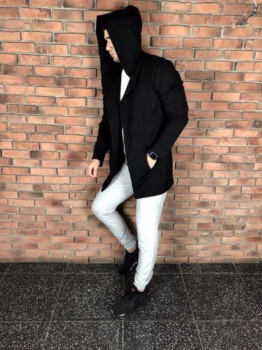Dres płaszcz czarny oraz spodnie szare nowe piękne